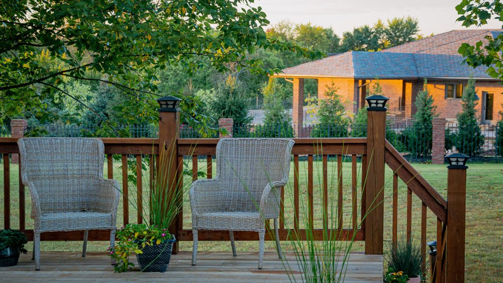 deck with two chairs to relax